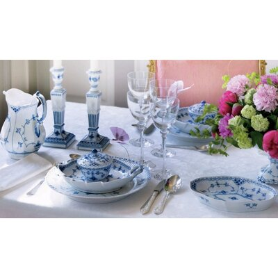 Blue Fluted Half Lace Dinnerware Set