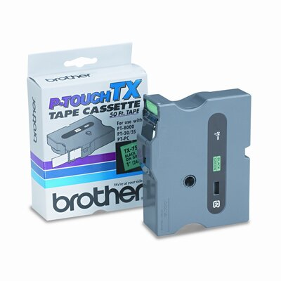 Brother P-Touch® TX TAPE CARTRIDGE FOR PT-8000, PT-PC, PT-30/35, 1W, BLACK ON GREEN