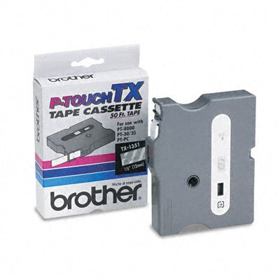 Brother TX Tape Cartridge for PT-30/35/8000(XL), PTPC, White on Clear, 1/2w