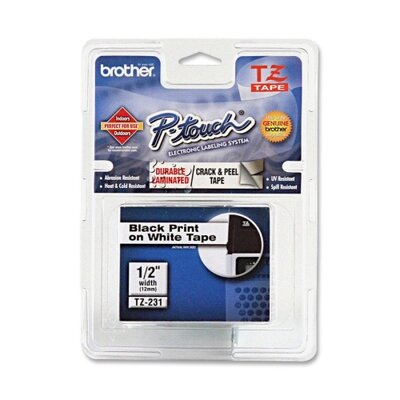 Brother TZE231 P-Touch Standard Adhesive Laminated Labeling Tape, 1/2W