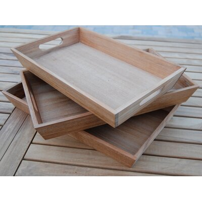 Arbora Teak Rectangular Teak Serving Tray (Set of 3)