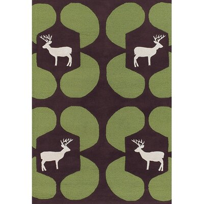 Chandra Rugs Avalisa Green Deer Novelty Rug