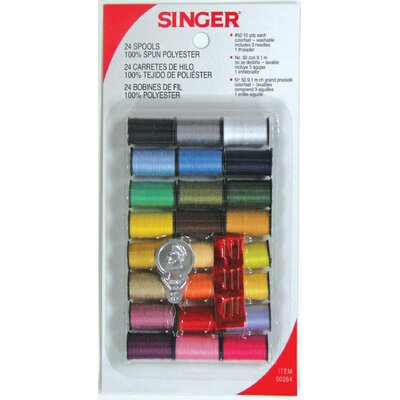 Singer 100% Spun Polyester Thread (Pack of 24)