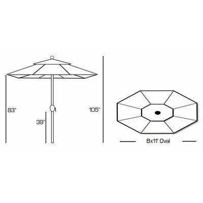 Galtech International 8' x 11' Market Umbrella