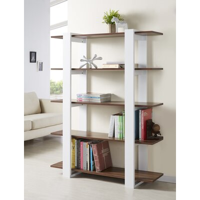 Hokku Designs Ellise Bookcase/Display Stand in Matte Walnut and White