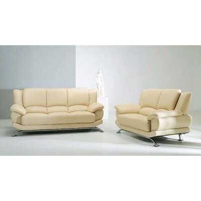 Hokku Designs Jaeger 3 Piece Leather Sofa Set