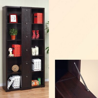 Hokku Designs Gilmore Bookcase / Display Cabinet in Red Cocoa Brown