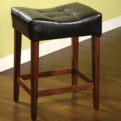 Hokku Designs Studio Leatherette Stool in Black (Set of 2)