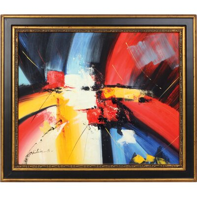 Red Blue Yellow Hand Painted Oil Canvas Art with Frame