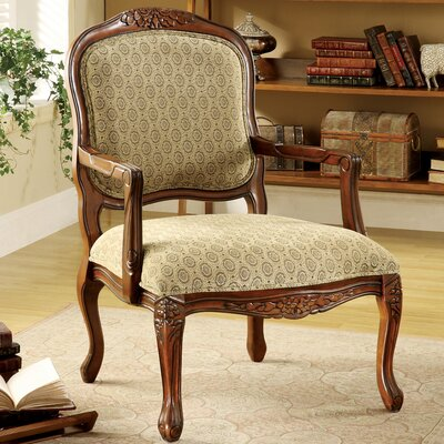 Atlantic Hand-Carved Fabric Arm Chair