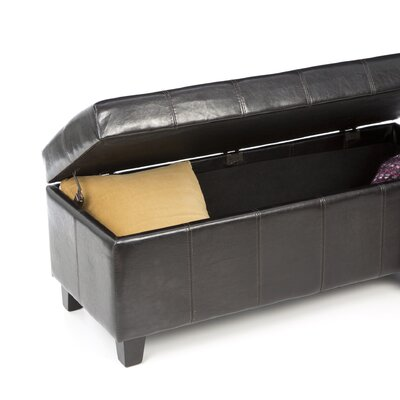 Hokku Designs Luton Bi Cast Leather and Wood Bedroom Storage Ottoman