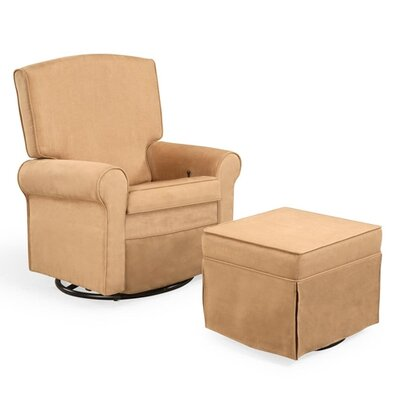 Shermag Square Back Upholstered Reclining Glider and Ottoman