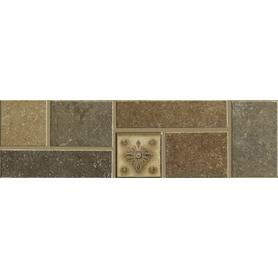 "Shaw Floors Brushstone 12"" x 3-1/4"" Accent Border Tile Accent in Multi-color"