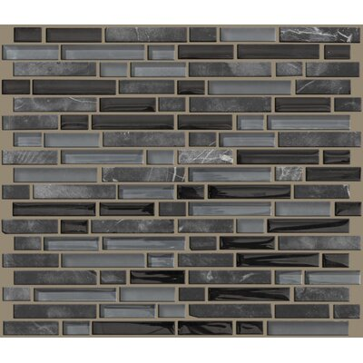 Shaw Floors Mixed Up Random Sized Linear Mosaic Stone Accent Tile in Black Hills