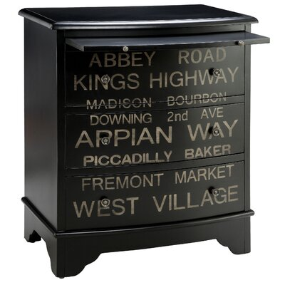 Painted Treasures Transit Sign Inspired 3 Drawer Accent Chest