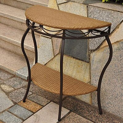 Valencia Wicker Half Moon Side Table