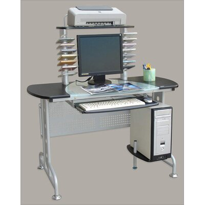 International Caravan Half Glass Top Computer Desk with 4 Levels and CD Holders
