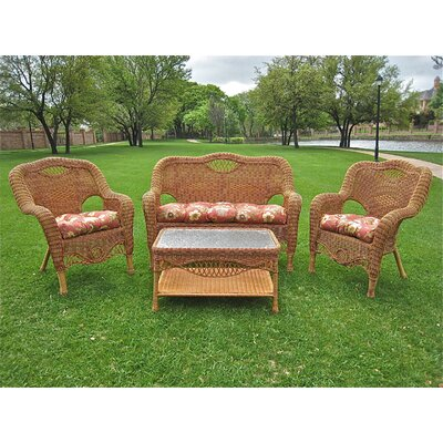 International Caravan Dresden 4 Piece Lounge Seating Group