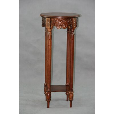 International Caravan Carved Wood Furniture Multi-Tiered Telephone Table
