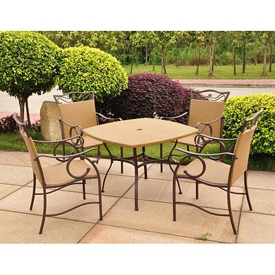 Valencia Wicker Resin Patio Dining Set (Set of 5)
