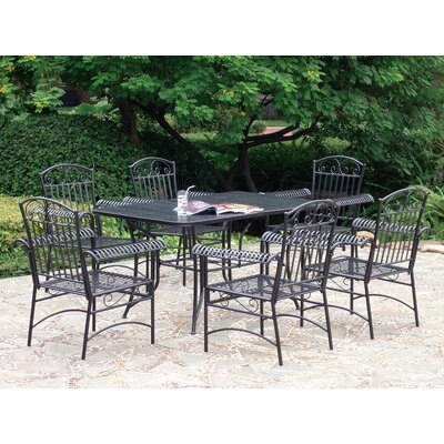 International Caravan Iron Patio 7 Piece Dining Set