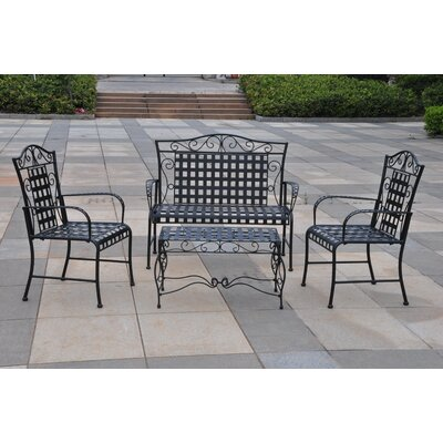 International Caravan Mandalay 4-Piece Wrought Iron Patio Settee Group
