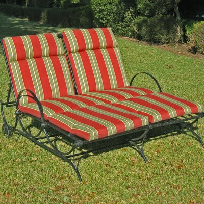 Patio heaven signature round double chaise lounge for Black wrought iron chaise lounge