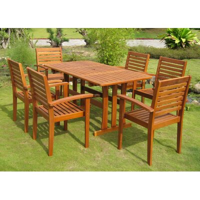 International Caravan Barcelona Balau 7 Piece Dining Set