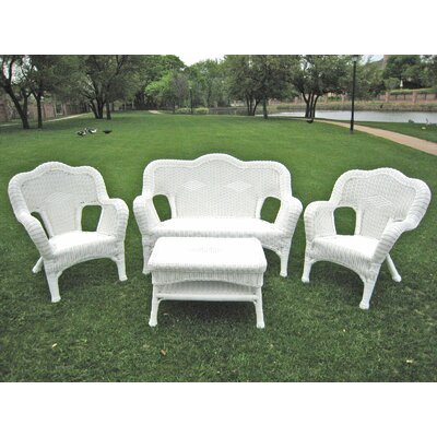 International Caravan Monaco 4-Piece Wicker Resin Outdoor Settee Group