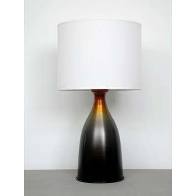 Babette Holland Nina Table Lamp with White Linen Shade in Charcoal and Orange Burst