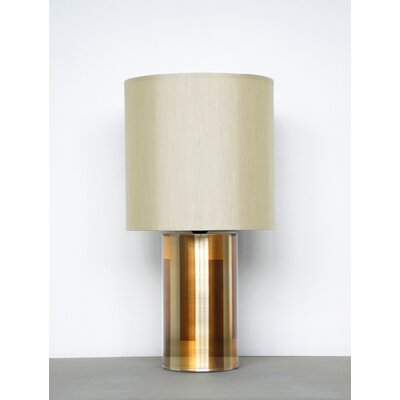 Babette Holland Pillar Table Lamp with Pebble Shade in Champagne Shadow