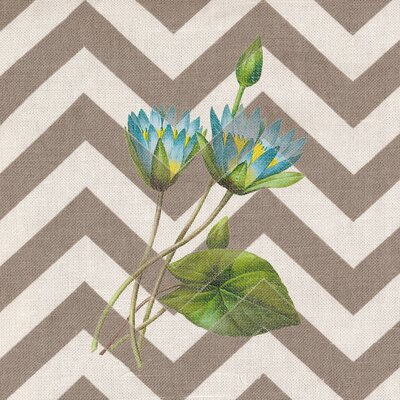 Botanical Beige Chevron Graphic Art on Canvas in Blue