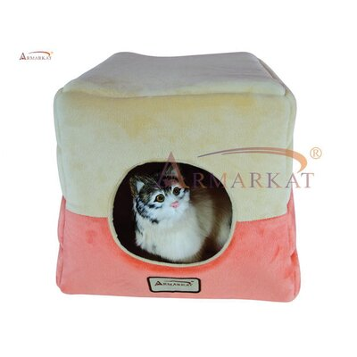 Cat Bed in Orange and Beige