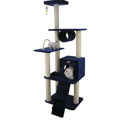 "Armarkat 71"" Classic Cat Tree in Navy Blue"