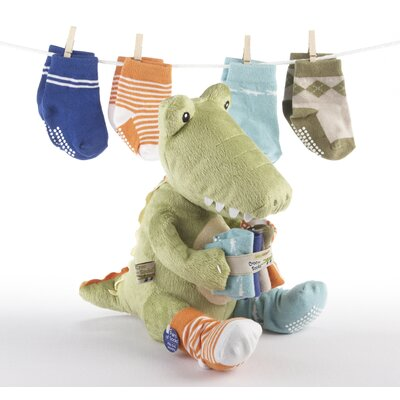 Baby Aspen ''Croc in Socks'' Plush Toy and Baby Socks Gift Set