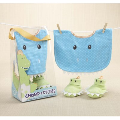 Baby Aspen ''Chomp and Stomp'' Dinosaur Bib and Bootie Set