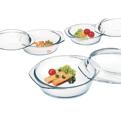 6 Piece Borosilicate Glass Round Casserole Set