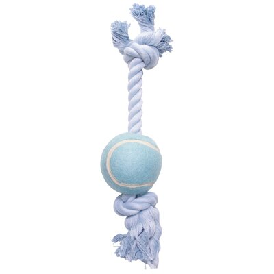 Dogit by Hagen Dogit Cotton Rope Bone with Tennis Ball Dog Toy in Blue
