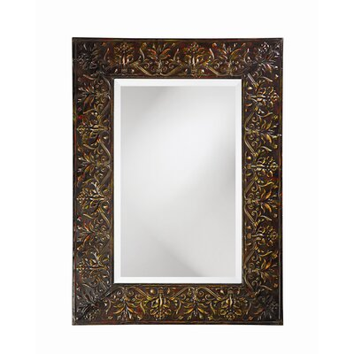 Fletcher Wall Mirror in Antique Black with Verde & Red Accents