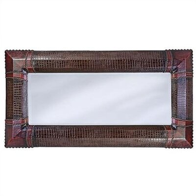 Russell Wall Mirror in Red & Brown Faux Crocodile Leather