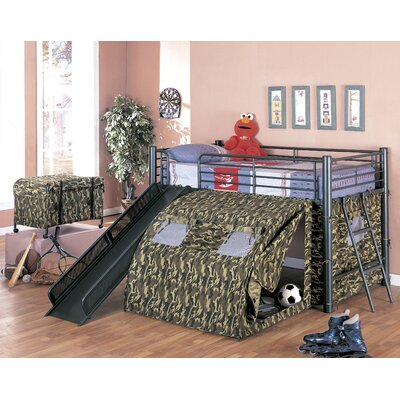 Wildon Home ® G.I Twin Low Loft Bed with Slide and Tent