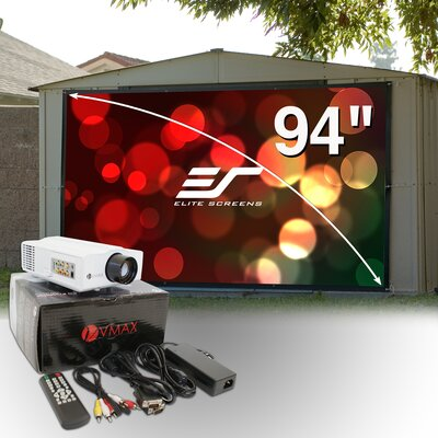 Elite Screens 94&quot; Outdoor Projection Screen &amp; LED Projector Bundle