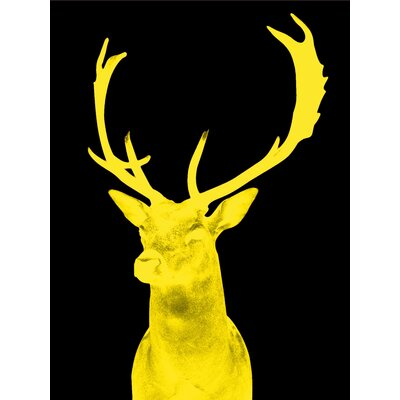 Stag Graphic Art in Night Yellow