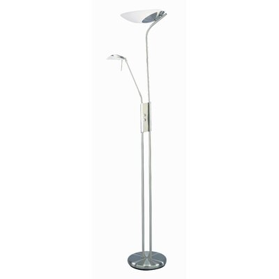 Lite Source Lucien Torchiere with Reading Lamp Extension in Polished Steel