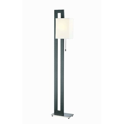 Lite Source Benito  Floor Lamp in Black and Polished Steel