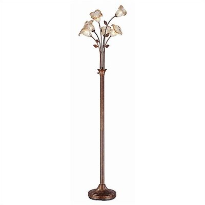 Lite Source Six Light Floor Lamp in Aged Gold with Flowered Amber Glass