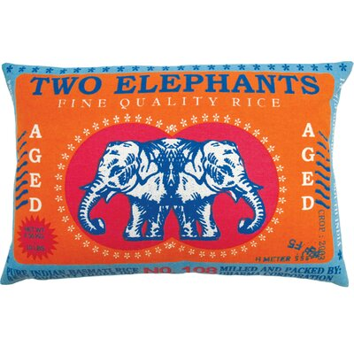 Koko Company Rice 13&quot; x 20&quot; Pillow with Two Elephants Print
