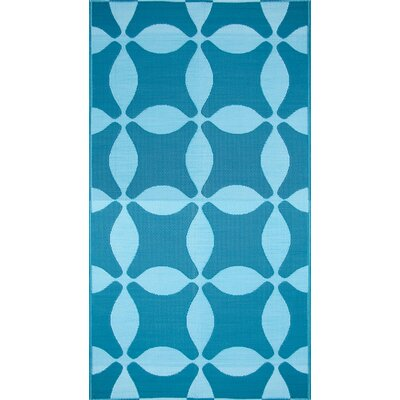 Koko Company Optic Teal / Turquoise Outdoor Rug