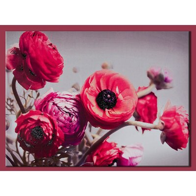 Bold Bouquet with Glitter Painting Print on Canvas