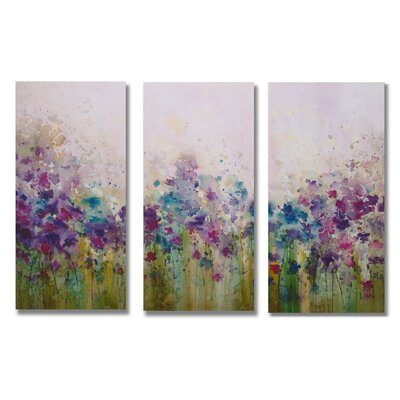 Gallery Watercolor Meadow 3 Piece Original Painting on Canvas Set